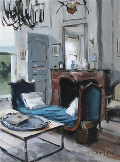 "Daily Paintworks - ""Blue Chaise"" - Original Fine Art for Sale - © David Lloyd"