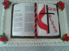 Open Bible cake for our outgoing pastor. Used edible image...