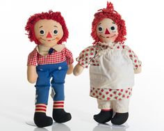Raggedy Ann And Andy Dolls   Vintage Raggedy Ann and Andy 1940s 1960s Ann Doll by Knickerbocker ...