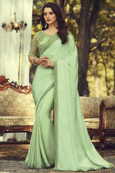 Online Shopping of Party Style Sea Green Color Fancy Art Silk Fabric Saree With Embroidered Blouse from SareesBazaar, leading online ethnic clothing store offering latest collection of sarees, salwar suits, lehengas & kurtis Party Wear Dresses, Bridal Dresses, Casual Dresses, Georgette Sarees, Silk Sarees, Bollywood Sarees Online, Party Wear Sarees Online, Net Blouses, Plain Saree
