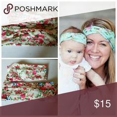 Cream Floral Mommy and me headbands You will be receiving one adult sized rabbit ear headband and one baby/toddler sized rabbit ear headband. Made from cotton.   Free Shipping!  I offer bundle discounts! Accessories Hair Accessories
