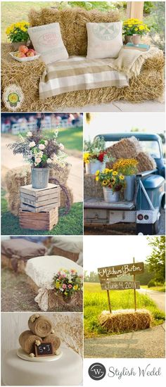 Chic Country Hay Bales Wedding Ideas for Outdoor Wedding