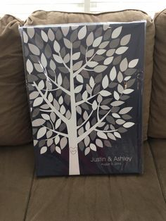 Wishwik Multi Wedding Tree Canvas | Guest Book Alternative | 125 Signature Spaces | Modern Wedding | Customer Photo | Wedding Colors - Black & Gray | peachwik.com