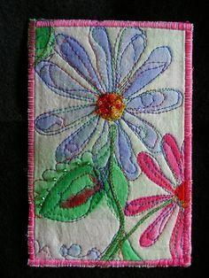 Fabric embellished postcard, thread sketching & ink
