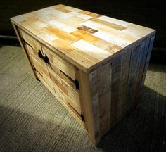 Rustic Pallet Sideboard from Different Colors of Wood | 101 Pallets