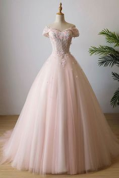 Cheap Admirable Long Prom Dresses, Prom Dresses Pink, Prom Dresses Lace Sale Morden Prom Dresses Lace, Pink Off Shoulder Tulle Lace Long Prom Dress, Pink Evening Dress Cute Prom Dresses, Sweet 16 Dresses, Tulle Prom Dress, Elegant Dresses, Pretty Dresses, Beautiful Dresses, Party Dress, Sexy Dresses, Formal Dresses