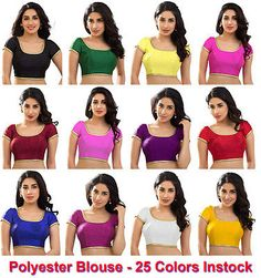 Polyester Silk Indian Wedding Blouse Top Choli Saree Bollywood Dupion BeelyDance