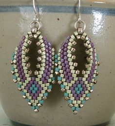 "RUSSIAN LEAF EARRINGS   8/0 seed beads Miyuki ""Duracoat Galvanized Pewter"" (4222)  11/0 Miyuki Delica beads ""Duracoat Galvanized Pewter"" ..."
