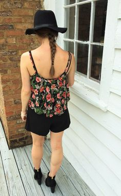"""This outfit reminds me of the """"Poison Ivy"""" movies from the 90's.Iloveall things floralso I knew I wanted this floral crop topimmediately. I wanted it…"""