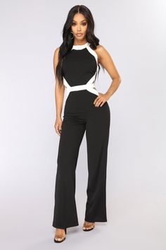 8613aa9060 Party Goes On Jumpsuit - Black White White Jumpsuits And Rompers