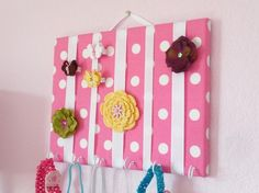 Hot Pink and White Polka Dots Hair Bow Holder Accessory Board Organizer With Hooks for Headbands