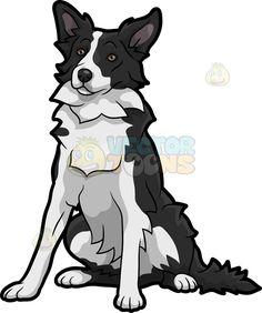 lovable border collie dog cartoon stock clip art u2022 vector toons rh pinterest com Border Collie Cartoon border collie clipart black and white
