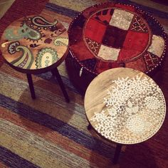 Oil painted tables crochet kashmir handpainted side tables design and art