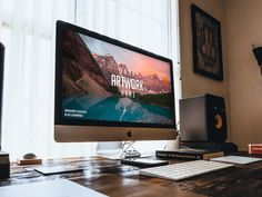 iMac on wooden Desk Mockup - Imac Desktop - Ideas of Imac Desktop - A photo-based mockup showing an iMac inches) on a dark wooden desk. The PSD file has the dimensions of 3648 x 2935 px and is equipped with a smart object.
