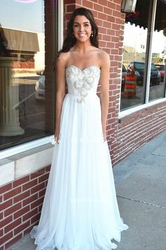 White Prom Dress,Beaded Prom Dress,Sweetheart Prom Dress,Fashion Prom