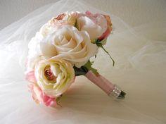 Soft Shade of Pink Bridal Bouque Vintage yet by LKWeddingBouquet, $75.00