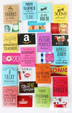 end of the year teacher gift idea: printable gift card holders with cute sayings