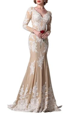 """Yudear Women's V-Neck Mermaid Long Sleeve Evening Celebrity Gown US 14 Champagne. We recommend you only to choose brand """" Yudear """" when you place the order, some sellers are selling the fake in poor quality with lower prices. The dress is ONLY sold by Yudear. Please note that the delivery date that you saw is automatically setted by Amazon system, if you need the dress urgent, you need to choose fast shipping and tell us your deadline, so that we can rush the process. All of our dresses…"""