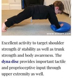 Should stability is a major building block for handwriting. We love this exercise to strengthen the shoulder girdle in preparation for fine motor activities! Occupational Therapy Activities, Sensory Therapy, Pediatric Occupational Therapy, Motor Skills Activities, Pediatric Ot, Sensory Activities, Physical Activities, Yoga For Kids, Exercise For Kids