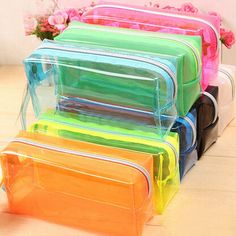 Makeup Bags & Cases S/L Size Pencil Pen Case Cosmetic Bag Clear Makeup Pouch Zipper Toiletry Holder Stationery Pens, School Stationery, Zipper Pencil Case, School Pencil Case, Makeup Pouch, Makeup Bags, Handbag Organization, Birthday Gifts For Kids, Pencil Bags