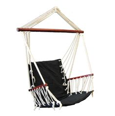 OMNI Patio Swing Seat Hanging Hammock Cotton Rope Chair With Cushion Seat (Black). Custom Dark Cherry Finish on All Wood Spreaders. Extra-Large Capacity: 265 Pounds. NO Assembly Required (Hanging Ring built in to top of swing rope). Built-in Comfy Cushions on seat and back. Perfect for Outdoor or Indoor Use.