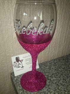 Rebekah glitter wine glass.Stuck for Gift ideas? Want something a Bit different?handmade decorated/ personalised glitter wine glasses. made for all occasions. Customised designs Visit my page  https://www.facebook.com/dazzlingcraftycreations  http://dazzlingcraftycreations.co.uk/