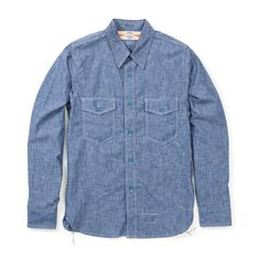 The Real McCoy's U.S. Navy Chambray Shirt - Blue (No Stencil) - THE REAL MCCOY'S - BRANDS - Superdenim Denim Button Up, Button Up Shirts, Put On, Chambray, Work Wear, Indigo, Vintage Outfits, Menswear, Navy