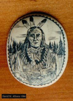 Mastadon ivory plaque with Native American portrait by David Pudelwitts-St. Albans 1984