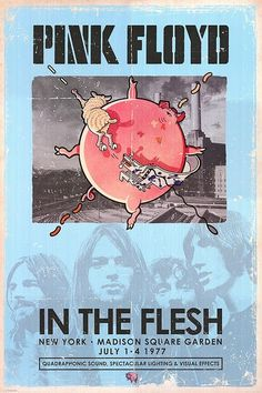 Pink Floyd (July 1.4.1977 at Madison Square Garden, New York) Psychedelic rock concert poster classic