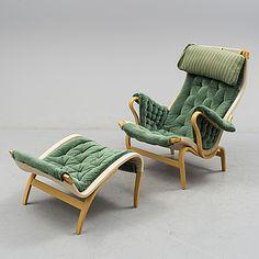 "BRUNO MATHSSON, fåtölj med fotpall, ""Pernilla"", Dux, 1980-tal. - Bukowskis Swedish Design, Elsa, Armchair, Furniture Design, Chairs, Couch, Living Room, Interior Design, Woody"