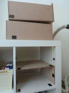 Q: Underbed drawers for KALLAX storage bed? Diy Drawers, Plastic Drawers, Ikea Expedit, Ikea Shelves, Kallax Hack, Ikea Hacks, Diy Storage, Storage Spaces, Closets