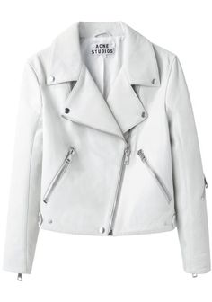 Acne / Rita Leather Jacket looks còolio White Fashion, Look Fashion, Fashion Outfits, Fashion Weeks, Milan Fashion, Acne Studios, White Leather, Real Leather, Casual Chic