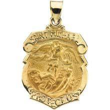23 best saint michael images on pinterest saint michael san saint michael shield badge hollow pendant in 14 karat yellow gold protect us medal aloadofball Images