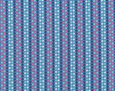 Feiner Popeline-Patchworkstoff Floressence mit feinen Rauten-Streifen, taubenblau-kräftiges rosa