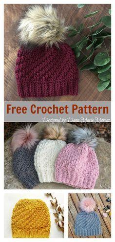 b42941eaa9e Diagonal Raised Beanie Free Crochet Pattern  freecrochetpatterns  beaniehat   crochethatpattern Crochet Baby Hat Patterns