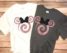 Rose Gold Minnie Swirl Ears Tees or Tanks Disney Tank Tops, Disney Shirts For Family, Disney Family, Family Shirts, Disney Mouse Ears, Minnie Mouse Shirts, Rose Gold Minnie Ears, Disney World Christmas, Christmas Sale