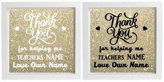 Vinyl Sticker For Box Frame TEACHER GIFT  THANK YOU FOR HELPING ME - personalise #Unbranded #Teachergiftendoftermgift
