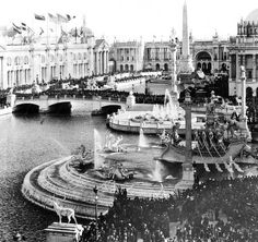 "Chicago World's Fair   The center of the Columbian Exposition of 1893 was an architectural wonder known as the Court of Honor. It featured Venice-like waterways and a collection of stately palaces that served as exhibition halls. The buildings were known as the ""White City"" because of the white, stucco exteriors and how the area glowed by street lights at night. The Palace of Fine Arts later became the Museum of Science and Industry."