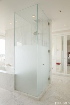 Half frosted glass shower