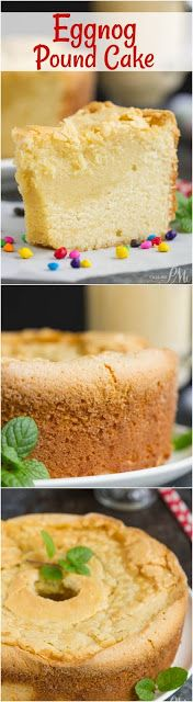 Use your favorite eggnog to make this buttery Eggnog Pound Cake. Combining the flavors of eggnog in a pound . Pound Cake Recipes, Cupcake Recipes, Baking Recipes, Cupcake Cakes, Dessert Recipes, Pound Cakes, Cupcakes, Frosting Recipes, Holiday Baking