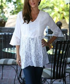 Look what I found on #zulily! White Floral Lace Bell-Sleeve Tunic by Ananda's Collection #zulilyfinds