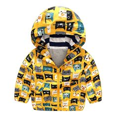 Little Boys' Cartoon Cat Print Hooded Jacket Outwear Yellow 6. 80% Cotton, 20% Polyester. Machine Wash. Zipper closure. Two front pockets. Full lined, great for spring and fall.