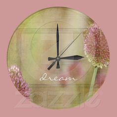 Inspired Pink Floral Round Clocks from Zazzle.com