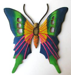 """Blue & Green Butterfly Hand Crafted Metal Design - Caribbean Steel Drum Art - 14"""" X 13""""   - See more at www.TropicAccents.com"""