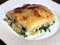 Lasaña vegetariana a los tres quesos con espinacas y piñones