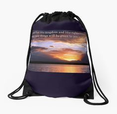'Matthew Drawstring Bag by Donna Keevers Driver Backpack Bags, Tote Bags, Drawstring Backpack, Matthew 6, Woven Fabric, My Images, Backpacks, Throw Pillows, Tote Bag