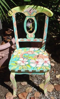 Painted Furniture: Side chair with flowers
