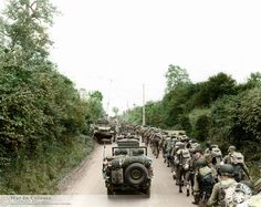 These are the GIs of the 35th Inf. US Division who landed at Omaha Beach on 5-7 July 1944 and moved to the front position on the right of the 29th Inf. Division US northwest of St. Lo. The 137th Inf. Regiment towards the Meauffe, the 320th IR to IR Carillon and 134th in reserve Villiers-Fossard.  Photo taken before their first battles in Normandy on 11 July 1944 with the XIX Corps.