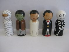 Halloween peg doll set. $25.00, via Etsy.
