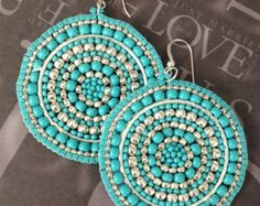 Items similar to Silver and Turquoise Seed Beaded Earrings - Big Bold Multicolored Disc Earrings on Etsy Big Earrings, Seed Bead Earrings, Beaded Earrings, Seed Beads, Beaded Jewelry, Crochet Earrings, Handmade Jewelry, Statement Earrings, Turquoise Earrings